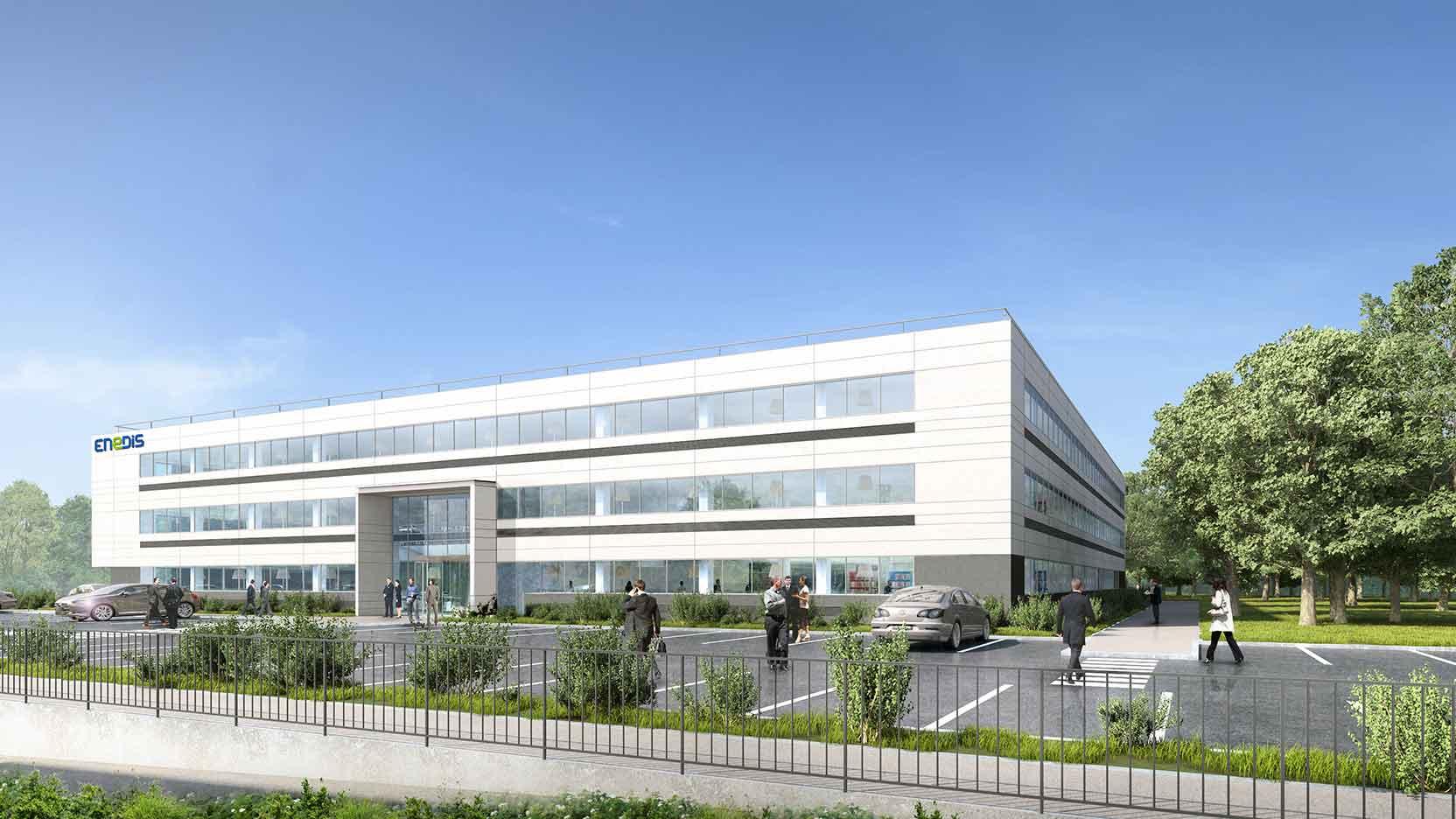 Le Groupe GA et Foncière des Régions posent la 1ère pierre du futur site régional d'Enedis à Reims (51)