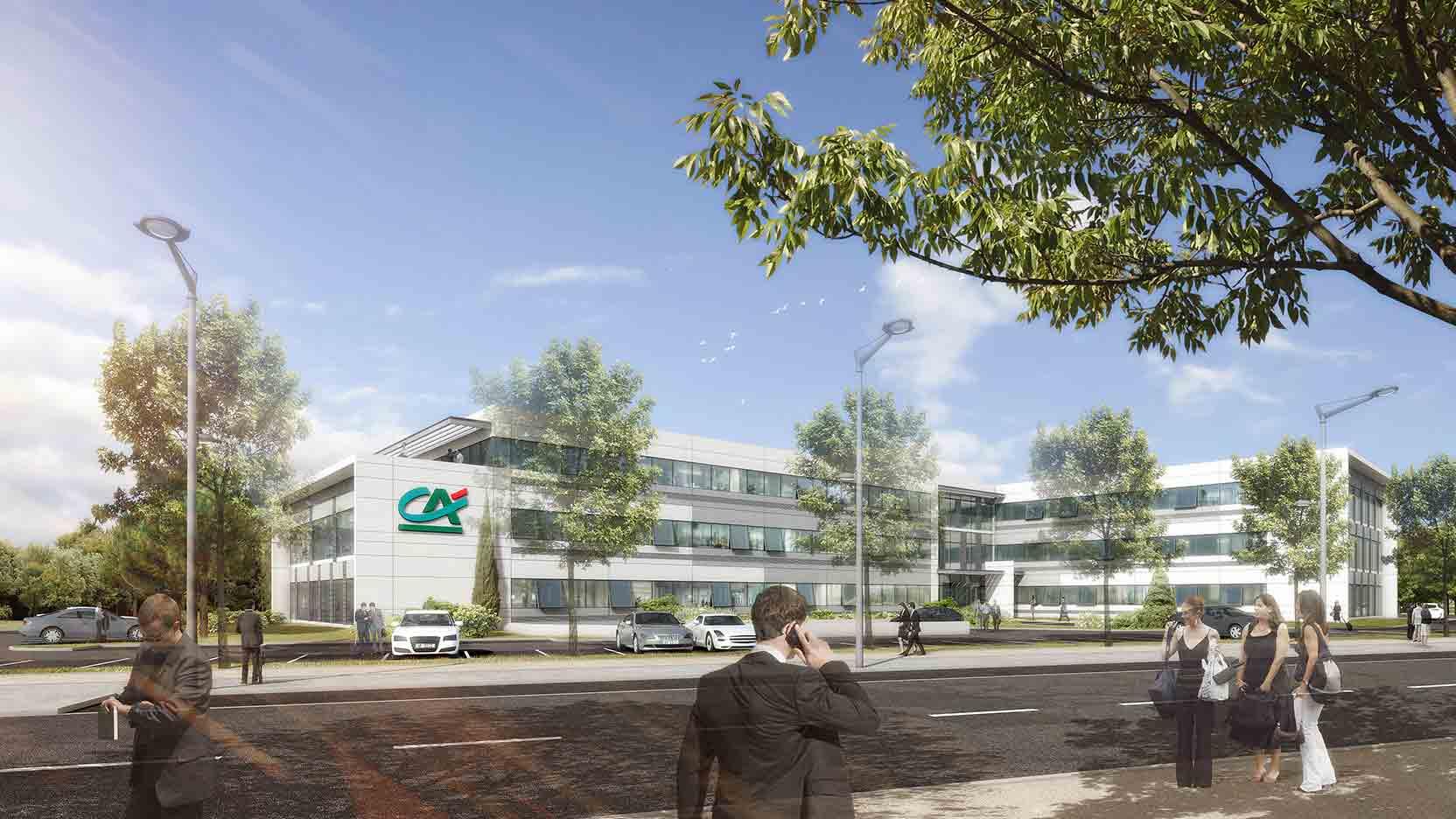 Pose de la 1ère pierre d'Abellio, le futur siège de Crédit Agricole Immobilier, à Toulouse