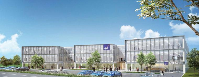 GA pose la 1ère pierre de Sunny, le nouveau siège régional d'AXA France, près de Rouen