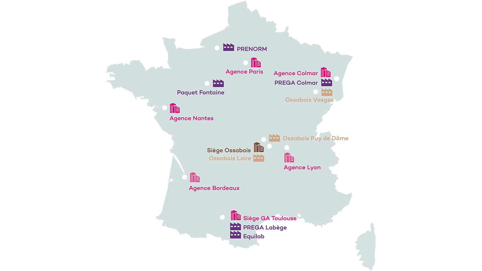 Implantations, toutes nos agences en France