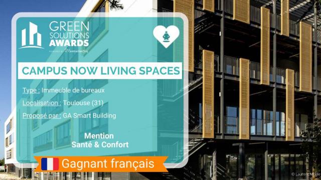 Le Campus Now Living Spaces à Toulouse reçoit la Mention Spéciale « Santé et Confort » aux Green Solutions Awards 2021 !